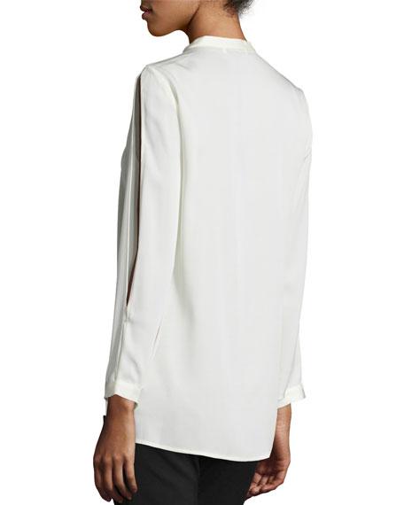 Mandarin Collar Silk-Blend Blouse, Bone