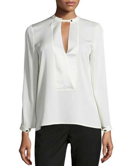 Mandarin Collar Silk-Blend Blouse, Bone