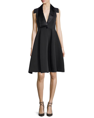 Structured Tuxedo Cocktail Dress, Black
