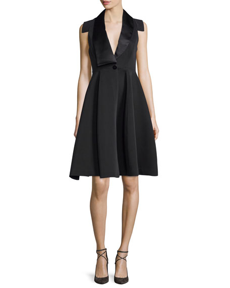 Halston Heritage Structured Tuxedo Cocktail Dress Black