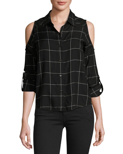 Maisie Plaid Cold-Shoulder Shirt, Black/White