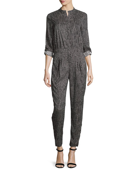 V Neck Jumpsuit, Charcoal Wave