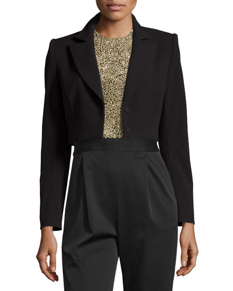 Maya Cropped Blazer, Black