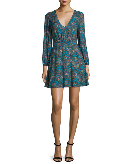 Alice + Olivia Cary Paisley V-Neck Minidress