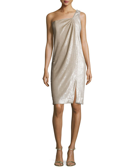 Halston Heritage One-Shoulder Twist Drape Dress, Dark Bone/Gold