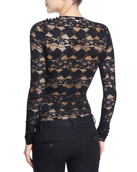 Elodie Floral-Lace Bodysuit, Black
