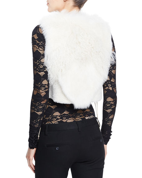 Cora Shearling Fur-Patch Vest, Ivory Onsale