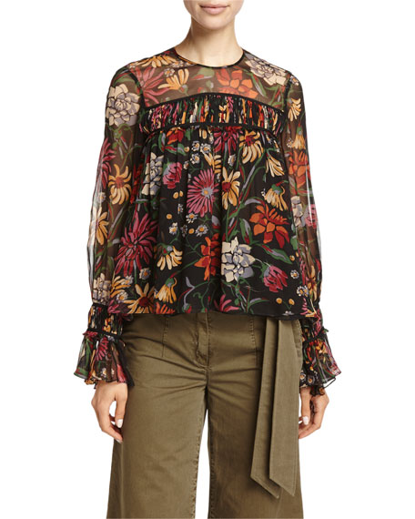 cinq a sept Monarch Wildflower-Print Long-Sleeve Silk Top,