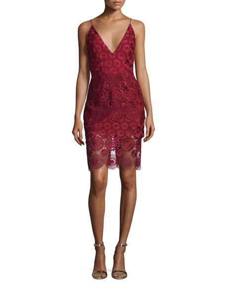 NICHOLAS Mixed-Lace Sleeveless Slip Dress
