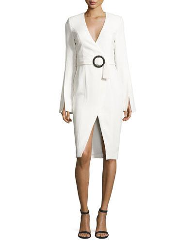 Nicholas Crepe Long-Sleeve Belted Dress, White