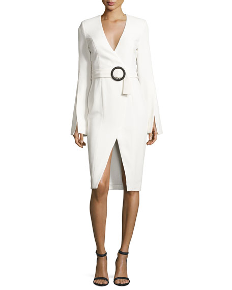 NICHOLAS Crepe Long-Sleeve Belted Dress, White