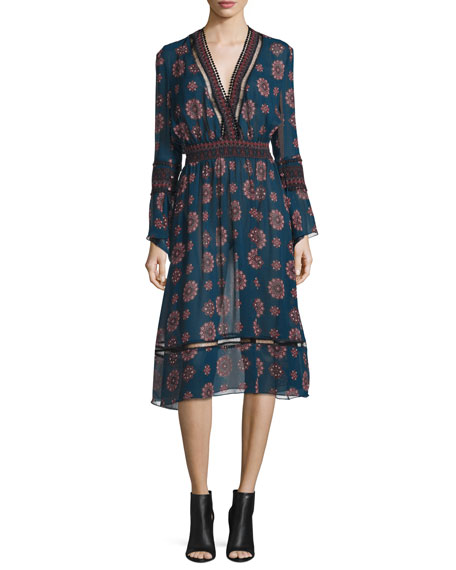 NICHOLAS Marrakech Printed Chiffon Midi Dress