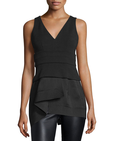 Donna KaranSleeveless Plunge-Neck Peplum Top, Black