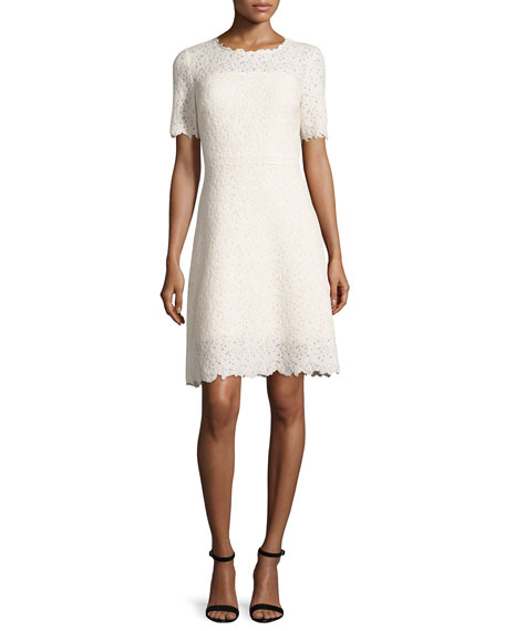 Elie Tahari Ophelia Half-Sleeve Lace Dress, Off White/Cream
