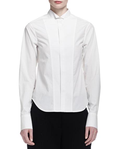Donna Karan Long-Cuffed Poplin Tuxedo Blouse