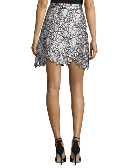 Poppy Floral-Lace Front-Zip Mini Skirt