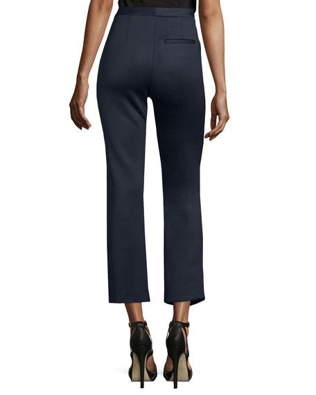 High-Waist Flare-Leg Cropped Trouser, Navy