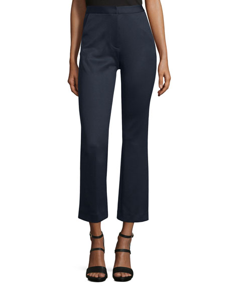 Self-Portrait High-Waist Flare-Leg Cropped Trouser, Navy