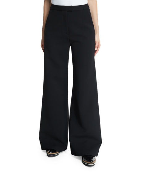 Self-Portrait Ariana Wide-Leg Trousers, Black