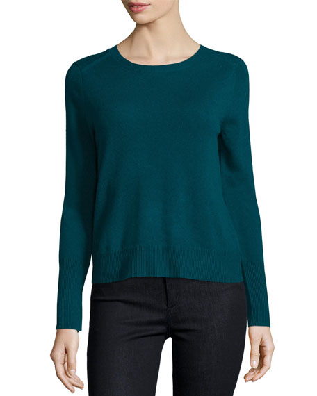 Cashmere Sweater with Keyhole Detail, Spruce