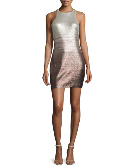 Racerback Ombre Sequined Cocktail Dress, Champagne/Black