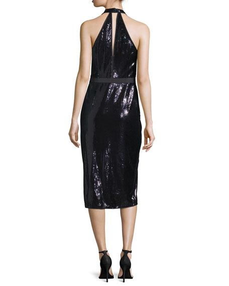 Sequined Halter Dress, Black/Spruce
