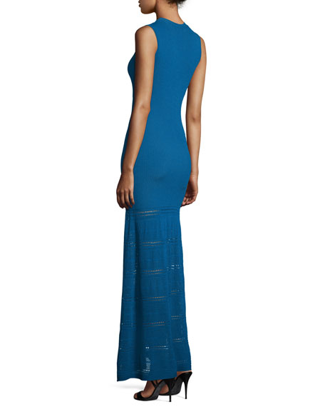 Sleeveless Knit Gown, Royal Blue