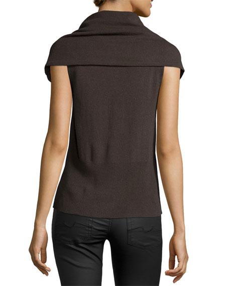 Poncho Wool-Cashmere Sweater, Dark Fatigue
