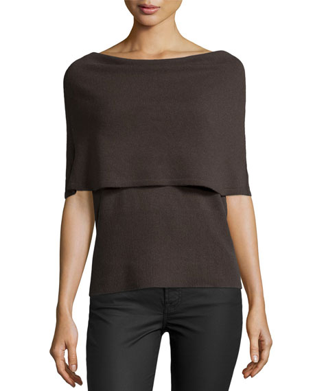 Poncho Wool-Cashmere Sweater, Dark Fatigue
