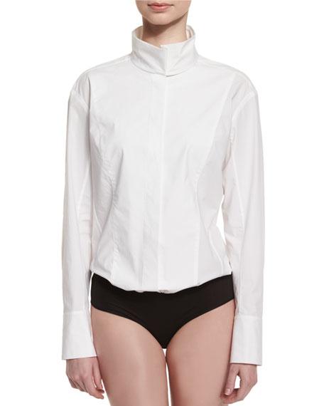 Donna KaranLong-Sleeve Origami-Collar Bodysuit, White