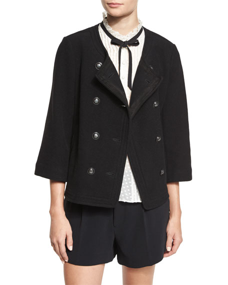 Joie Leija 3/4-Sleeve Double-Breasted Jacket