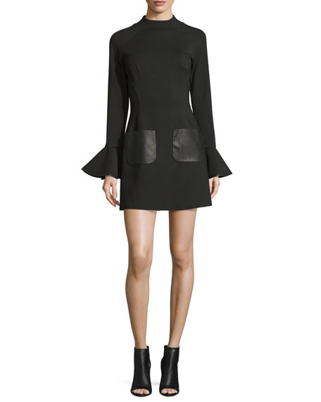 Bell-Sleeve Stretch Crepe Mini Dress, Black