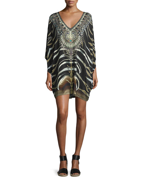 Embellished Batwing-Sleeve Dress, Zebra Crossing