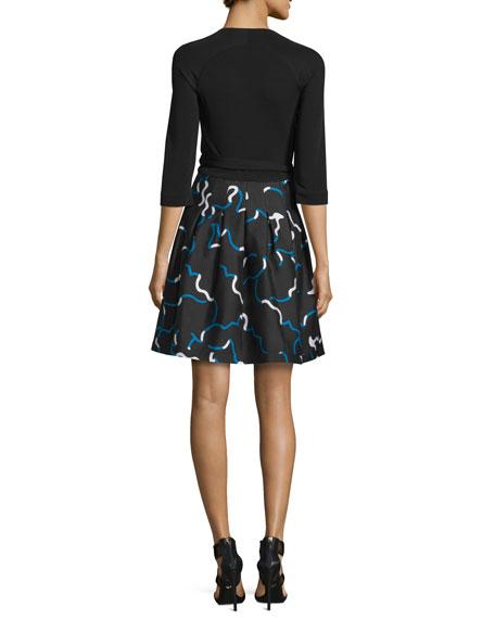 Jewel Mikado-Skirt Wrap Dress, Black/Balestra Black