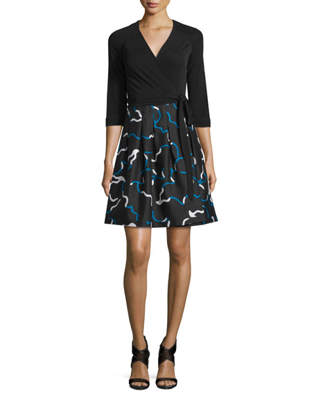 Diane von FurstenbergJewel Mikado-Skirt Wrap Dress,