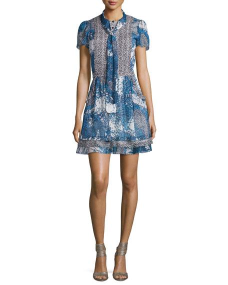 Marisa Beads-Print Babydoll Dress