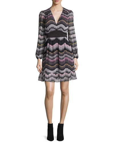 Lizbeth Printed Silk Dress, Encore Wild Rose/Black