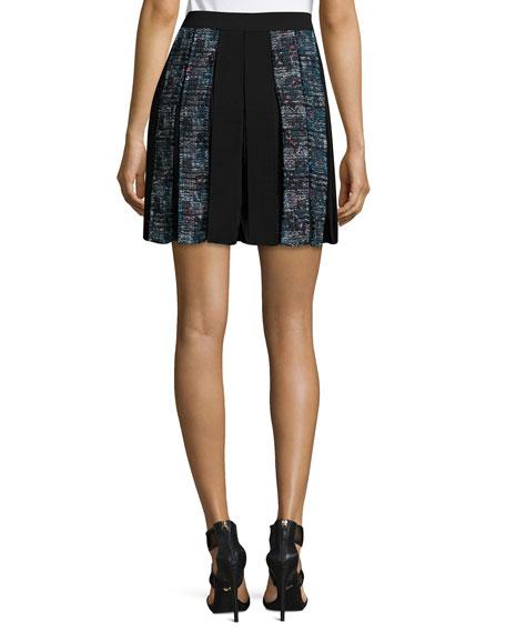 Maison Box-Pleated Miniskirt, Peacock/Black Multi