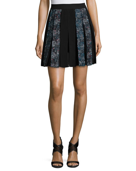 Diane von Furstenberg Maison Box-Pleated Miniskirt, Peacock/Black