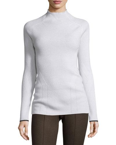 Natasha Ribbed Cashmere Sweater, Ivory