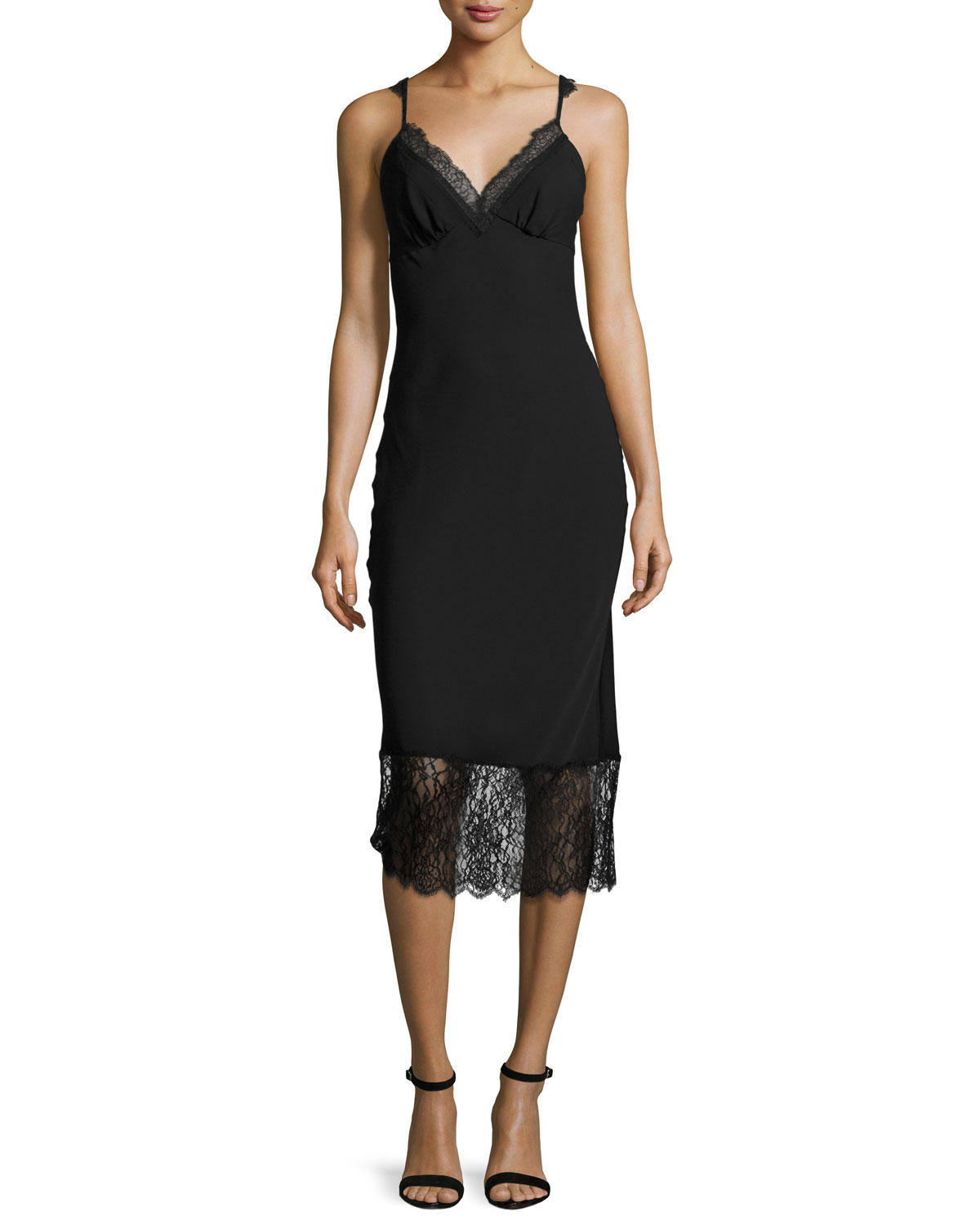 c6136775c51a0 Diane von Furstenberg Margarit Lace-Trim Slip Dress, Black | Neiman ...