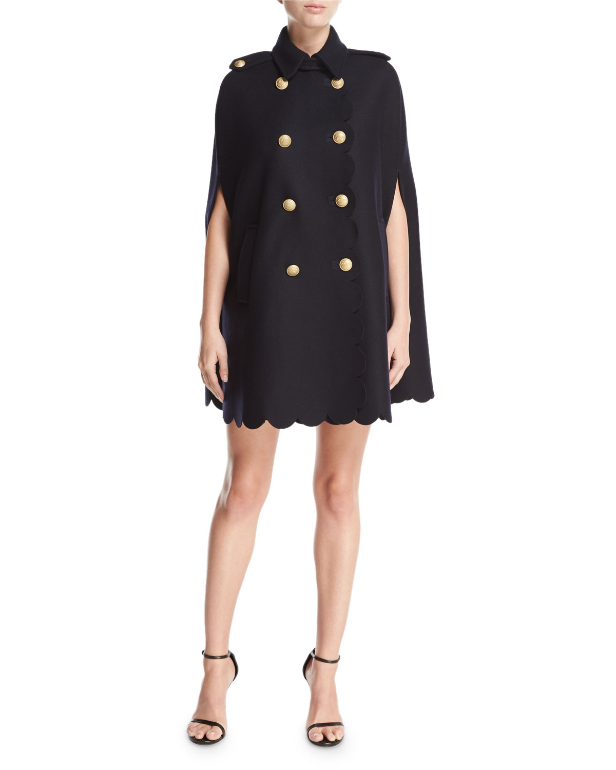 64ac0890c0b5 REDValentino Scalloped Double-Breasted Cape, Navy | Neiman Marcus