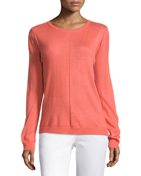 Halston Heritage Long Sleeve Draped Back Sweater, Melon