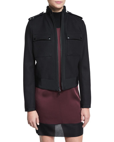 Regale Zip-Front Wool-Blend Jacket, Black