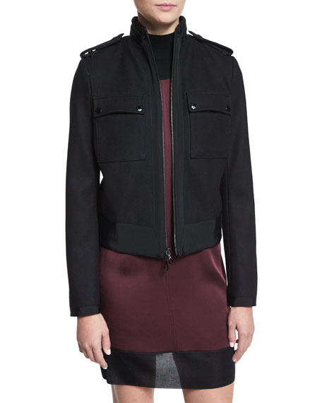 Rag & Bone Regale Zip-Front Wool-Blend Jacket, Black