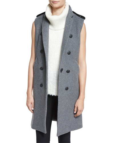 Ashton Tailored Wool-Blend Vest, Heather Gray