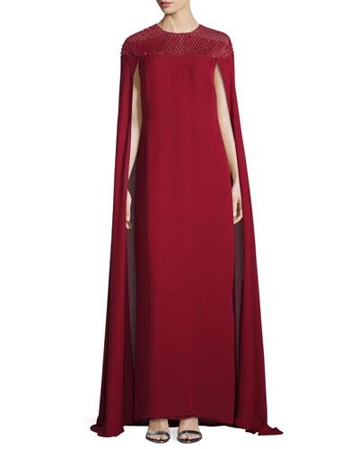 Beaded-Yoke Georgette Caftan Gown, Ruby