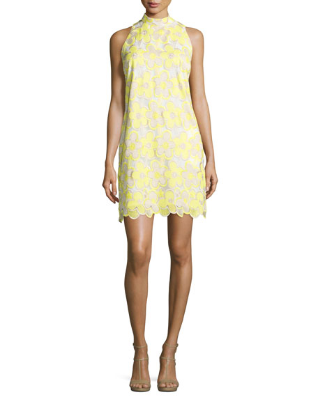 Laundry by Shelli SegalSleeveless Mock-Neck Floral Lace Dress,