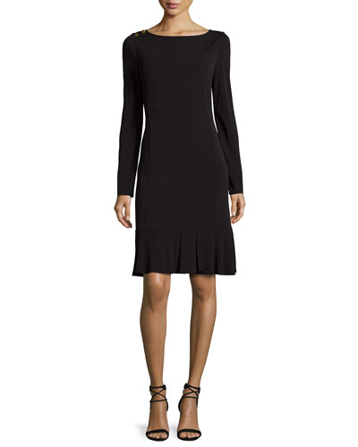 Long-Sleeve Ruffle-Hem Jersey Dress, Black