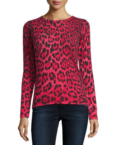 Cashmere Leopard-Print Crewneck Sweater